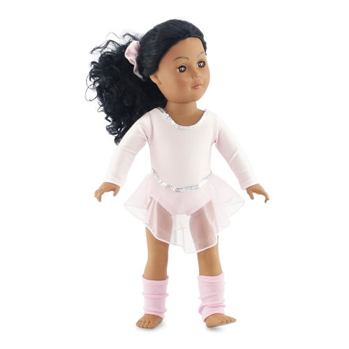 58b39d47e2c8 18-inch Doll Clothes - Pink Leotard with Skirt and Leg Warmers - fits ...