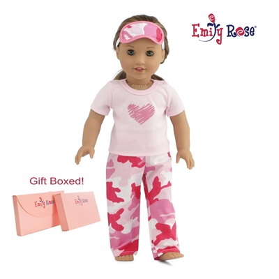 18-inch Doll Clothes - Heart Pajamas/PJs with Teddy Bear - fits American Girl ® Dolls