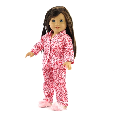 18-inch Doll Clothes - Leopard Print Pajamas/PJs with Fuzzy Slippers - fits American Girl ® Dolls