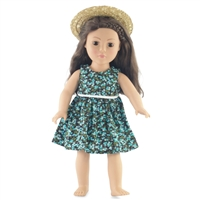18-inch Doll Clothes - Tank Dress and Straw Hat with Ribbon - fits American Girl ® Dolls
