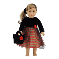 18-inch Doll Clothes - Velvet Top, Plaid Skirt, and Overlay and Purse - fits American Girl ® Dolls