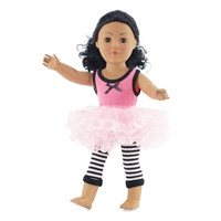 18-inch Doll Clothes - Pink Tank and Tutu with Striped Leggings - fits American Girl ® Dolls