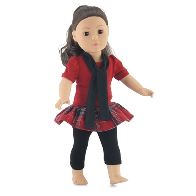 18-inch Doll Clothes - Plaid Skirt and Shirt with Leggings - fits American Girl ® Dolls