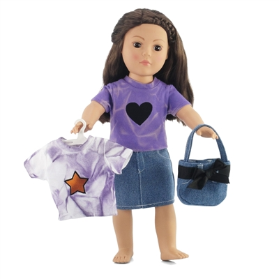 18-inch Doll Clothes - Denim Skirt and Purse with 2 Tie-Dye Tee Shirts - fits American Girl ® Dolls
