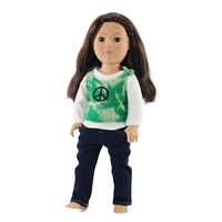 18-inch Doll Clothes - Peace Sign Tank, Long Sleeve Tee, and Skinny Jeans - fits American Girl ® Dolls