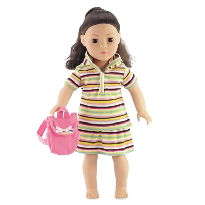 18-inch Doll Clothes - Hoodie, Shirt, and Skirt with Backpack - fits American Girl ® Dolls