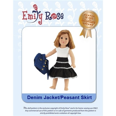 18-Inch Doll Clothes Pattern - Denim Jacket and Skirt - Downloaded to your computer
