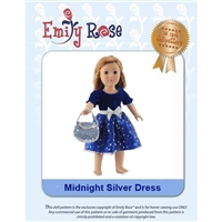 18-Inch Doll Clothes Pattern - Midnight Silver Dress - Downloaded to your computer