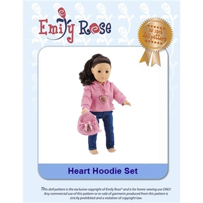 18-Inch Doll Clothes Pattern - Heart Hoodie - Downloaded to your computer