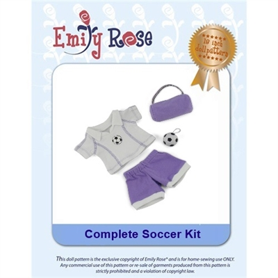 18-Inch Doll Clothes Pattern - Soccer Kit - Downloaded to your computer
