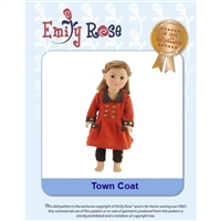 18-Inch Doll Clothes Pattern - Town Coat Outfit - Downloaded to your computer