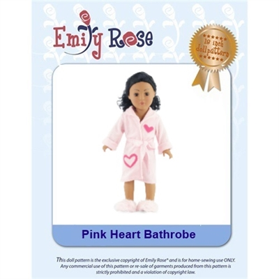 18-Inch Doll Clothes Pattern - Pink Heart Bathrobe - Downloaded to your computer