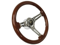 Ford Bronco S6 Mahogany Wood Steering Wheel Chrome Kit