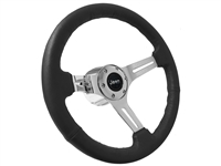 Jeep Black Leather Steering Wheel Chrome Kit