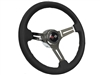 Chevy S6 Sport Black Leather Steering Wheel Kit  - OE Style Series Cross Flags Cap