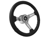 Ford V8 Black Leather Steering Wheel Chrome Kit