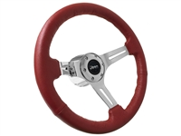 Jeep Red Leather Steering Wheel Chrome Kit