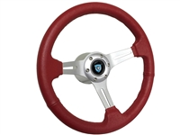VW S6 Sport Red Leather Steering Wheel Brushed Kit