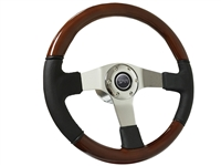 Mercury S6 Sport Mahogany Finish Wood & Premium Black Leather Steering Wheel Kit