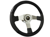 Ford Bronco S6 Sport Black Ash Finish Wood & Premium Black Leather Steering Wheel Kit