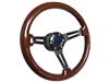 Mopar S6 Mahogany Wood Steering Wheel Black Kit