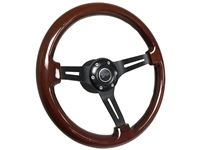 Mercury Cougar Mahogany Wood Steering Wheel Black Kit