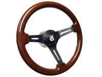 S6 Sport Mahogany Wood Steering Wheel Black Etched Kit for VW