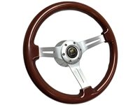 Ford Bronco S6 Mahogany Wood Steering Wheel Brushed Kit