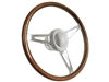 S9 Classic Wood Steering Wheel Kit, Polished Horn Button