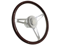 Volante S9 Classic Espresso Wood Steering Wheel Etched Castle Kit for VW