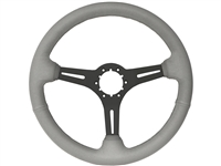 Auto Pro USA, Volante , Sport , grey , leather , Steering Wheel , black Center , anodized , GM , MOPAR , FORD , Corvette , Mustang , Charger , Challenger , Camaro , El camino , Impala , bel air , nova , chevy II , oldsmobile , firebird , bronco , vw ,