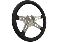 MOPAR S9 Premium Black Leather Quad Spoke Steering Wheel Polished Kit - 3-Hole Design