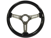Auto Pro USA ,  Volante , Sport , Black ash, Wood , Steering Wheel , chrome Center , Black , GM , MOPAR , FORD , Corvette , Mustang , Charger , Challenger , Camaro , El camino , Impala , bel air , nova , chevy II , oldsmobile , firebird , bronco , vw ,