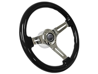 Mercury Cougar Black Ash Wood Steering Wheel Chrome Kit