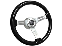 Mercury Cougar Black Ash Wood Steering Wheel Brushed Kit