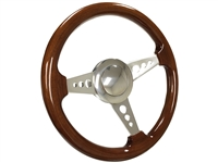 Mopar S9 Premium Brown Wood Steering Wheel Polished Kit