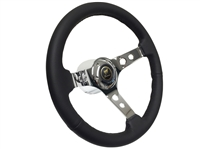 Bronco Black Leather 3-Holed Chrome Steering Wheel Kit