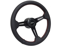 Jeep Perforated Leather Steering Wheel Kit with Red Stitching