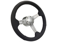 VW S6 Sport Black Perforated Leather Steering Wheel Brushed Castle Kit