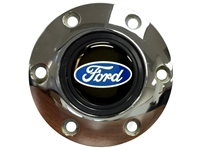 S6 Chrome Horn Button with Ford Blue Oval Script Emblem