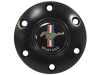 S6 Black Horn Button with Classic Ford Mustang Running Pony Emblem