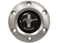 S6 Brushed Horn Button with Classic Ford Mustang Running Pony Emblem