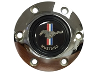 Volante S6 Chrome Horn Button with Classic Ford Mustang Running Pony Emblem