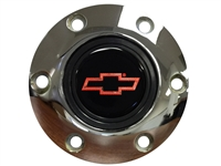 S6 Chrome Horn Button with Red Chevy Bow Tie Emblem