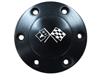 Volante S6 Etched Series Black Horn Button with Cross Flags Emblem
