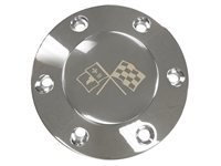 Volante S6 Etched Series Chrome Horn Button with Cross Flags Emblem
