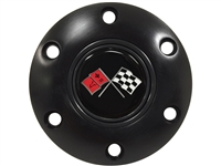 Volante S6 Black Cross Flags Horn Button