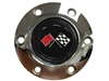 S6 Chrome Horn Button with Cross Flags Emblem