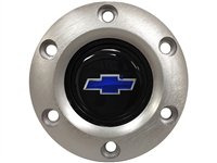 S6 Brushed Horn Button with Blue Chevy Bow Tie Emblem