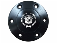 Volante S6 Etched Series Black Horn Button with Cadillac Crest & Wreath Emblem